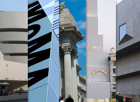 Exterior facades of NYC museums.