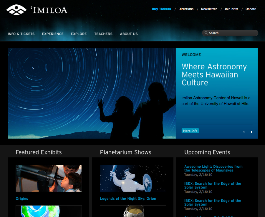 Screen grab of 'Imiloa Astronomy Center website home page.