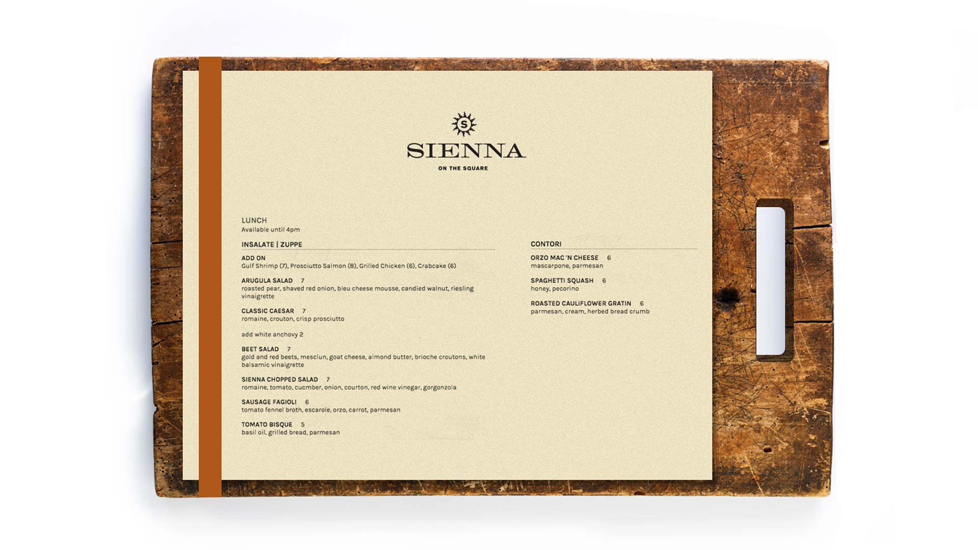 22 sienna square menu